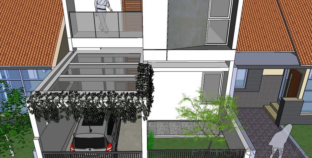 Tanpa kitchen set sketsa denah desain rumah minimalis dan modern - Rumah Bata Karya Tropical Space Dengan Konsep Yang