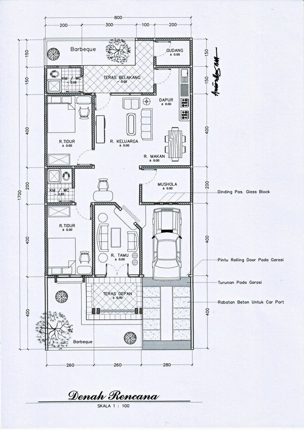 Desain rumah mungil dan artistik \u2013 denah/layout