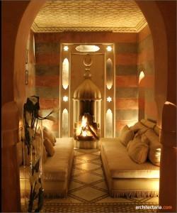 desain interior ruang tamu bergaya maroko