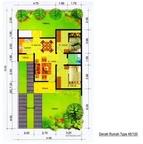 Contoh Denah Rumah Persegi Panjang desain rumah mungil type 45 pt architectaria media cipta