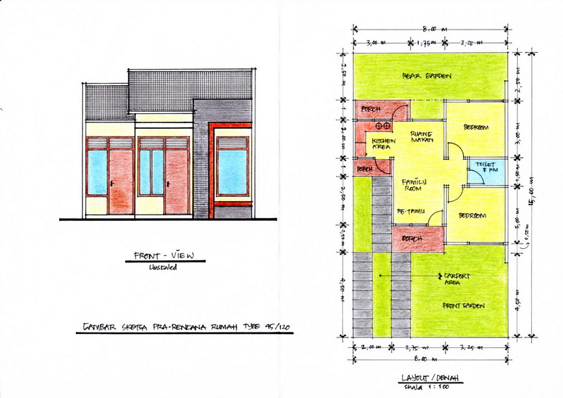 ... dan Tampak Depan Rumah Type 45 (Klik Pada Gambar Untuk Memperbesar