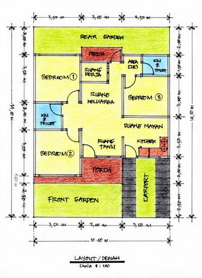 Gambar 2 – Denah/Layout Rumah Type 70 (Klik Pada Gambar Untuk