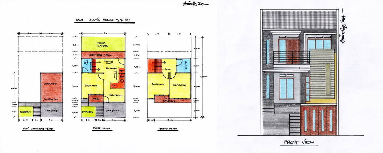 dan Tampak Depan Rumah Type 90 (Klik Pada Gambar Untuk Memperbesar