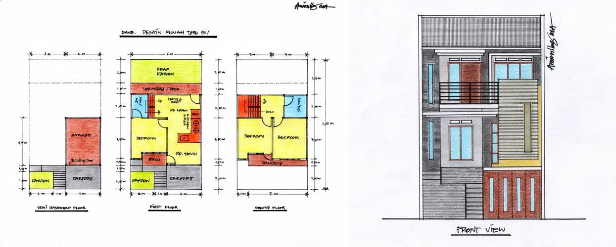 gambar 1 denah layout dan tampak depan rumah type 90 klik pada gambar ...