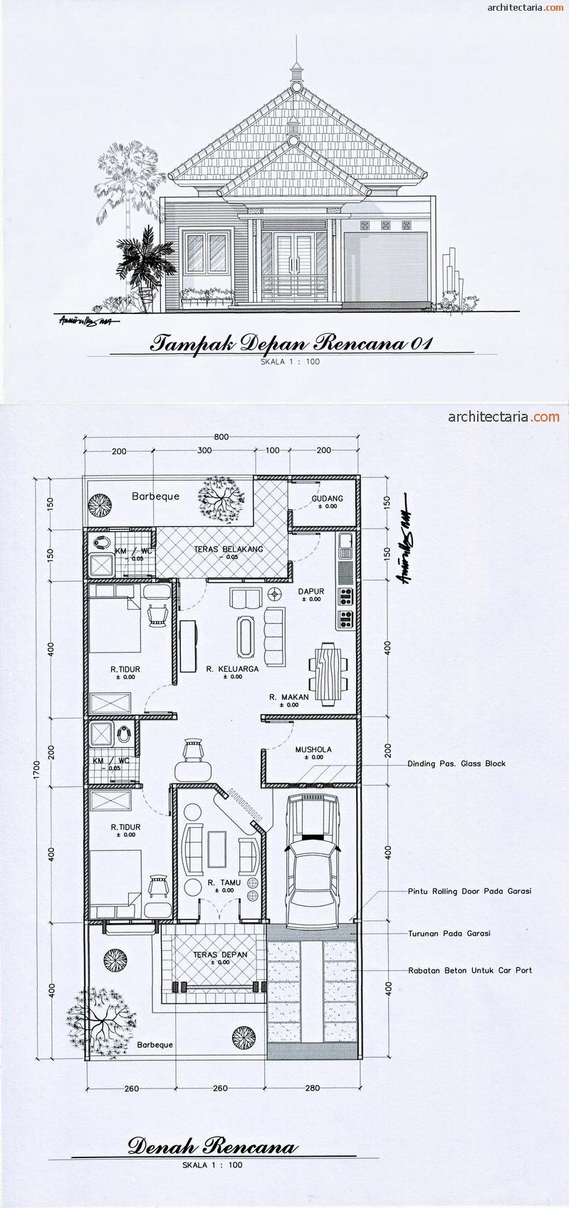 rumah minimalis 1 lantai ruang tamu ruang keluarga 2 kamar tidur dapur