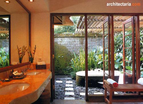 Merencanakan kamar mandi dengan konsep terbuka open air for Open air bathroom designs