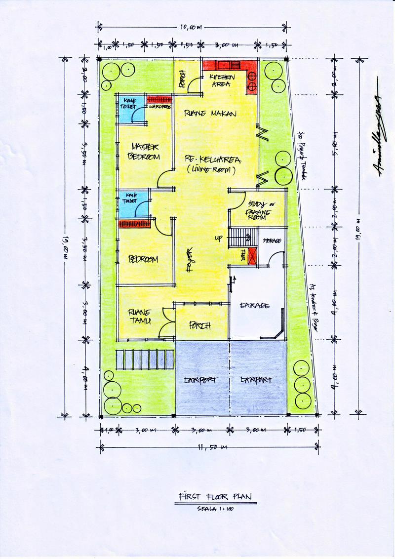 Desain Rumah Diatas Lahan Berbentuk Trapesium