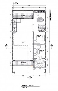 gambar denah layout lantai 1 rumah dan ruang usaha ruko
