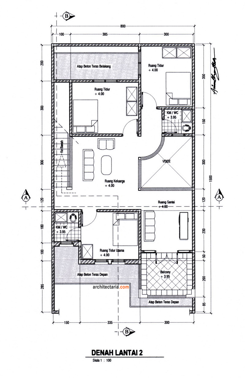 Gambar Denah/Layout Lantai 2 – Rumah dan Ruang Usaha (RUKO/RUKAN)
