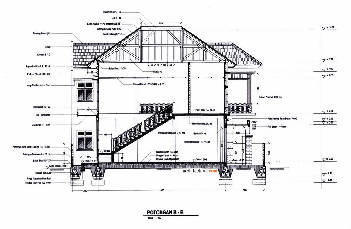 Gambar Potongan Memanjang Rumah dan Ruang Usaha (RUKO/RUKAN)