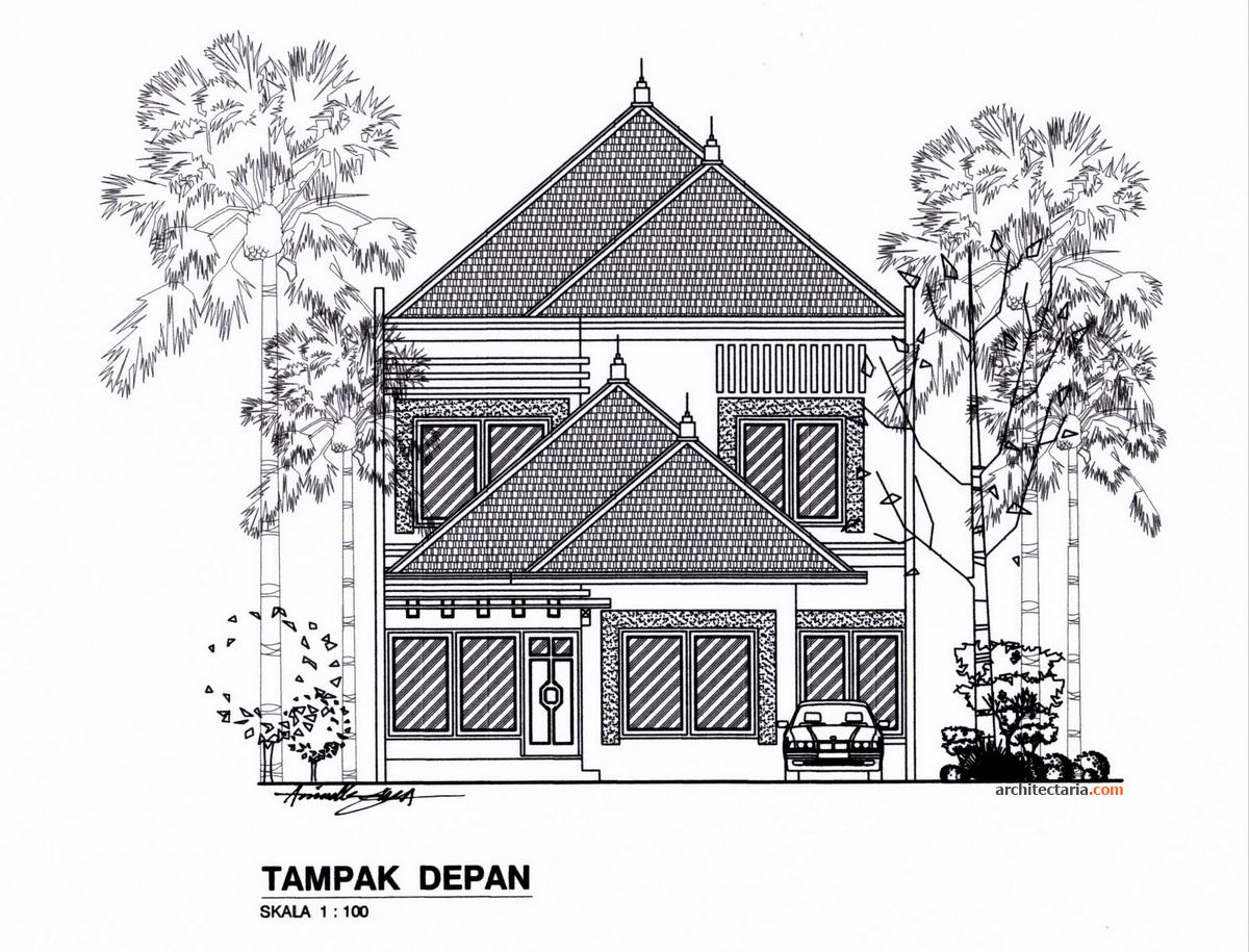Denah Rumah T&ak Depan S&ing Atas desain rumah bergaya modern eklektik | pt. architectaria media