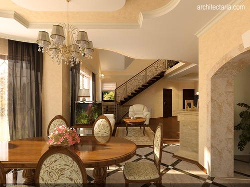 Desain interior ruang tamu dengan lu gantung bergaya klasik