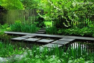 Desain taman artistik yang dilengkapi kolam air dan jembatan kayu