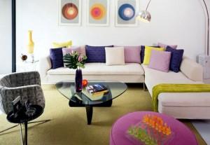 desain interior ruang tamu bergaya retro