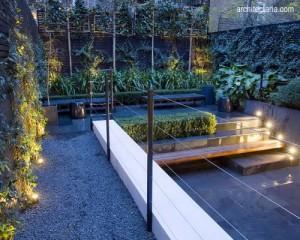 patio dengan teknik pencahyaan yang unik