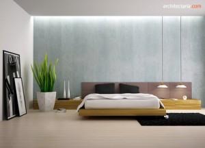kamar tidur dengan akses vas bunga