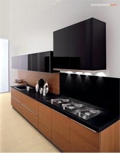 kitchen set modern dengan motif kayu
