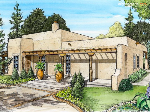 desain sketsa rumah adobe & Rumah Adobe-Rumah Tradisional yang Banyak Ditemui di Amerika Wilayah ...