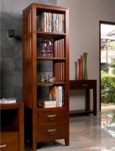 furniture berbahan dasar kayu - rak buku kayu