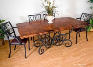 meja makan berbahan kayu d an besi