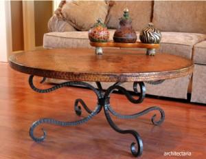 meja sofa berbahan kayu d an besi