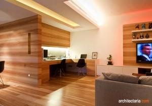 desain interior ruang keluarga dan ruang kerja dengan cladding kayu