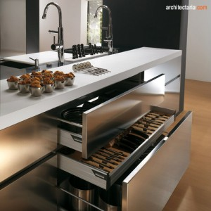 kitchen set dan appliances berbahan stainless steel - view 3
