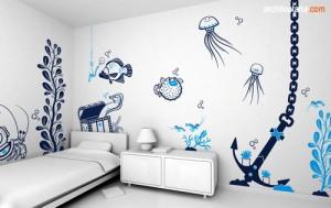 desain interior kamar tidur anak laki-laki dengan wallpaper