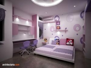 desain interior kamar tidur anak perempuan dengan wallpaper