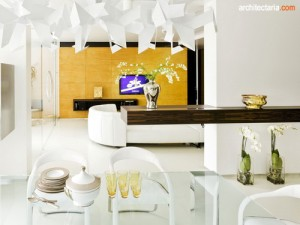 desain ruang keluarga dan ruang makan bergaya post modern