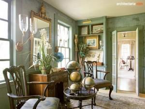 interior desain ala shabby chic dengan warna sage green