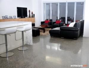 desain interior ruang keluarga dengan lantai beton