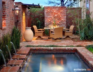 desain taman mungil dengan batu bata