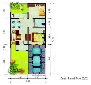 desain rumah lebar 6 meter panjang 20 meter