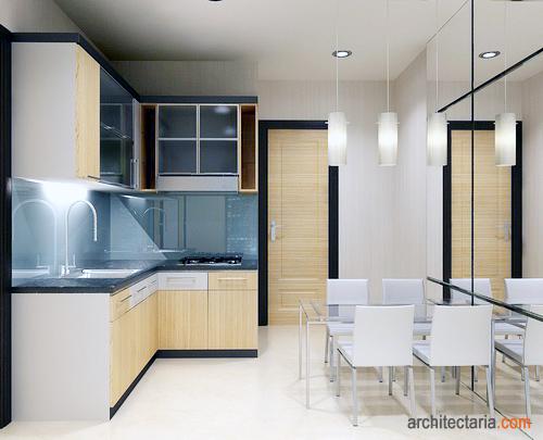 Gambar Dapur Berukuran Mungil Dengan Furniture Yang Ringan Dan Simple