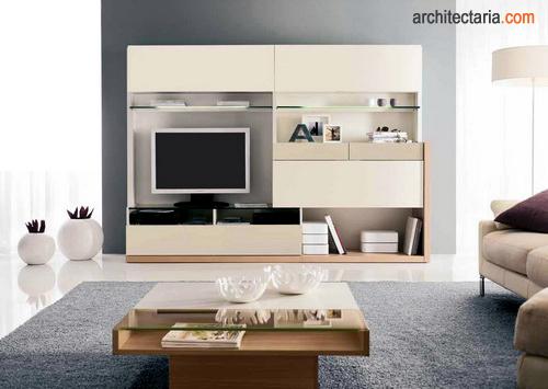 Meja Dan Wall Unit Bera Modern Untuk Ruang Tamu Keluarga Jpg
